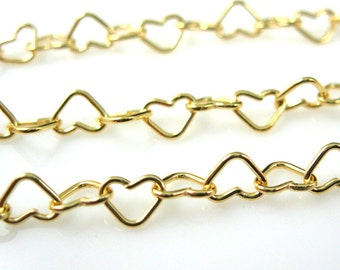 Gold Chain, Gold Plated Chain, Vermeil Sterling Silver Heart Chain-Heart Shape ( Up to 30% off) Jewelry Supplies Wholesale-SKU:101037-VM