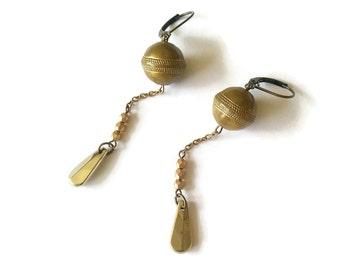 Golden and Kaki Earrings with Vintage Beads - Retro Inspired Jewelry - Green Earrings - Olive Earrings (SD871)