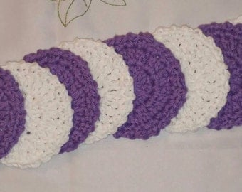 Cotton Facial Scrubbies (set of 8) in White and Purple