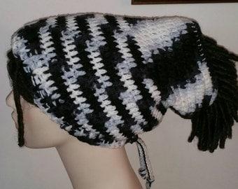 Dread Sock Tam Dread Tube in Black, White and Grey