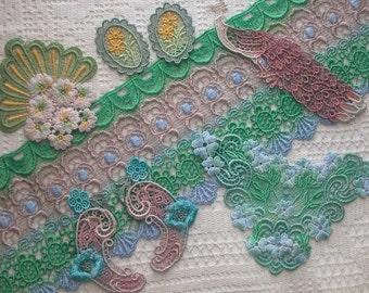 Hand Dyed Lace, Appliques, Venise Lace, Grab Bag 8 Pcs. Embellishments, Crazy Quilt