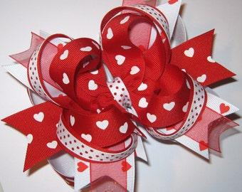 LARGE Layered Red & White Hearts Valentine's Day Boutique Hair Bow READY 2 SHIP
