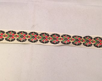 Vintage Jacquard Ribbon - Green & Red Circles Geometric -2 yards-