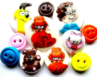 Ready to Ship Garfield Inspired button set of 11