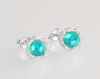 Turquoise earrings,turquoise stud earrings,raw stone earrings,raw gemstone earrings,minimal earrings silver,boho earings,summer jewlery