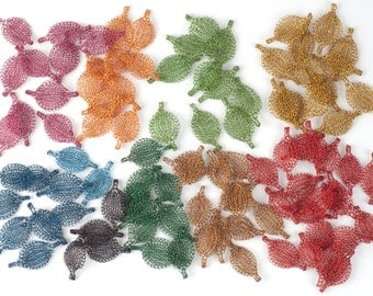 Autumn Crafting - Unique beading Supply - Crocheted elements - handmade leaves  - lots clearance