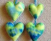Tie dye Valentine heart ornament set