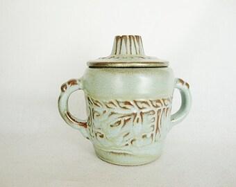 vintage frankoma woodland aztec sugar bowl with lid