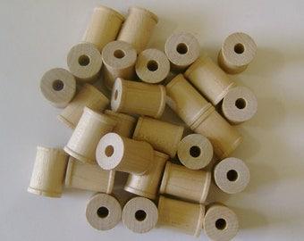 """25 Wood Spools - Unfinished Wood - 5/8"""""""