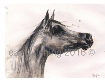 watercolor HORSE PRINT, horse watercolor, horse lover gift, realistic horse