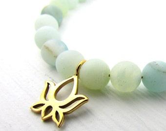 Lotus Bracelet   Frosted Amazonite Bracelet   Blue Green Stone Bracelet   Bronze Flower Charm