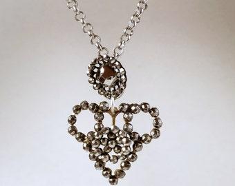 Open Heart Necklace // Antique Cut Steel