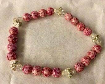 Pink Stone Bracelet With crystal accents Stretch Bracelet