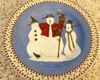 Snowman Plate by Debbie Munn