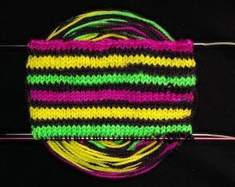 Hot Pink, Acid Green, Yellow, Black Self striping Sock Yarn, Neon, Hand Dyed, Merino/Nylon - Highlighter Collection