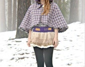 Inspired by Anna woolen hooded capelet, Cape, shawl, houndstooth, checkered, vintage, purple, fairy, princess, mohair, hoodie, hoody, lined