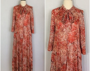 Vintage 70s Rust Abstract House Dress