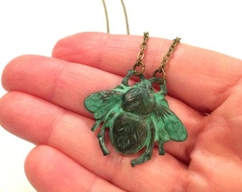 Bee Necklace, Nature Inspired, Nature Lover, Bug Jewelry, Insect Necklace, Woodland Jewelry, Bug Lover, Bumble Bee, Antique Brass, Bee Lover