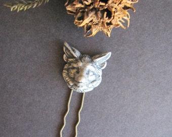 Fox Hair Fork, Fox Hair Stick, Woodland Inspired, Hair Fork, Woodland Wedding, Silver Fox, Nature Inspired, Fox Head, Cosplay Hair Pick