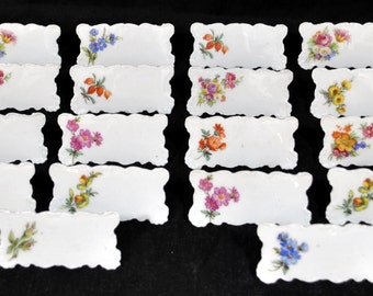 Vintage China Floral Name Place Card Markers Tags Holders Stands Roses White  - Total of 18