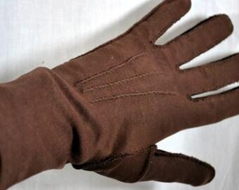 Vintage Brown Cotton Gloves