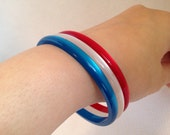Vintage Patriotic Moonglow Skinny Plastic Bangle Bracelets, Set of 3, USA