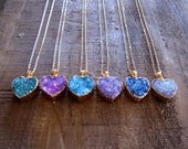 Druzy Necklace, Heart Necklace, Valentine's Day Jewelry,Choose Your Color Pendant, 14K Gold Fill,Agate Druzy, Drusy Necklace