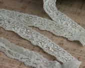 "15% OFF 1 1/4"" Stretch lace, LIGHT BLUE lace, blue stretch lacem blue lace, headband lace 10 yards"