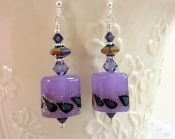 Lavender Luster Earrings, Handmade Lampwork Earrings, Purple Drop Dangle, Sterling Silver