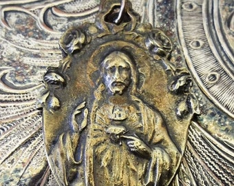 HUGE SALE RARE Edwardian Circa 1910's Silver On Brass Scapular Religious Miraculous Medal, Sacred Heart Of Jesus & Our Lady Of Mount Carmel