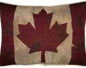 Vintage Canada Canadian Flag Woven Tapestry Cushion Pillow Cover