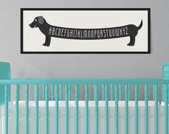 Dog Art Print, Dachshund Art, Alphabet Print, Dachshund Baby, Sausage Dog Art, Wiener Dog Wall Art, Dog Art Print for Kids, Dog Wall Art