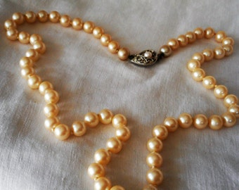 VINTAGE Bead Faux Pearl Jewelry Necklace  P3