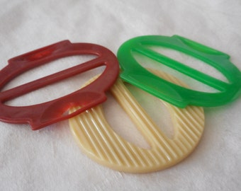 Lot of 3 VINTAGE Plastic Slide Belt BUCKLES