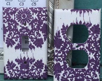 Custom Switchplate Purple Damask