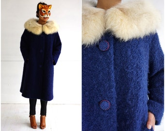 Vintage 1960's Blue Fuzzy Wool Swing Jacket with Giant Fur Collar by Macauley | Medium/Large