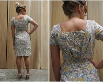 Vintage 60's Floral Cotton Wiggle Dress with Pleated V Back and Rhinestone Detailing by Sidney Kramer Original | Medium