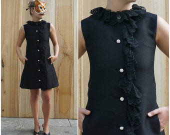 Vintage 60's Mod Black Silk A-line Shift Dress with Lace Collar, Rhinestone Buttons and Pockets | Small Medium