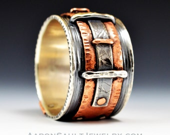 Connection Series - Vise.  Sterling and Copper Ring