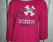 Cutest, No Bones About it, Applique, Skull, Crossbones, Embroidered T-Shirt