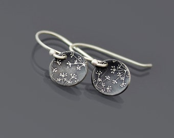 Queen Anne's Lace Earrings, tiny sterling silver earrings, oxidized botanical jewelry