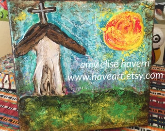 Lovely little 6x6 Textured Church original painting by Texas Artist Amy Elise Havern