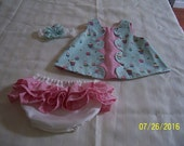 Baby Girl Dress  cute  Cupcakes,Polka Dots &Candy  print  dress lined in polka dots 3 pc. outfit size 6mo