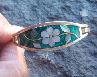 Child Bracelet, Sterling Bracelet, Mexico Silver Bracelet, Cuff Bracelet, Alpaca Mexico Silver Bracelet, Floral Bracelet, Shell Bracelet