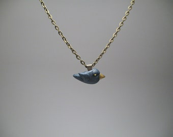Tiny Bluebird Necklace - Polymer Clay Jewelry