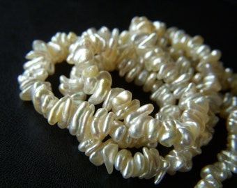 Fancy Japanese Akoya Keishi Pearls - Half Strand - 3x6mm - 8 Inches