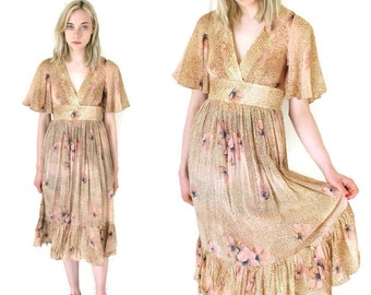 1970s vintage dress 70s retro floral dresses butterfly sleeve BOHEMIAN taupe rayon floral hippie dress small