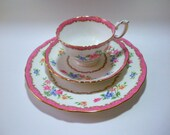 Crown Staffordshire China, 3 piece set, Made in England, Pink Floral Design