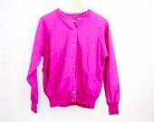 90s vintage bomber jacket | fuchsia raglan sleeve jacket | bright linen bomber | S
