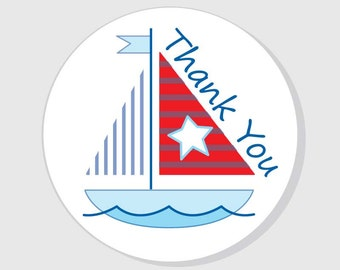 Sailboat Thank You Baby Shower Stickers - Nautical Baby Shower - Boy - matte white finish - 1.5 inch - 2 inch - 2.5 inch - 3 inch